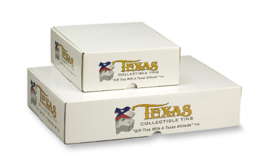 Gift boxes are custom designed for the unique shape of the Texas Tin. Package your tins individually, with products, or send two tins at a time. Small gift boxes hold one tin; large gift boxes hold two.