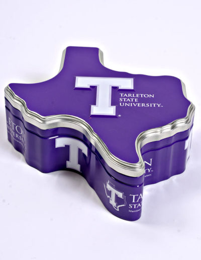 The Tarlton State University Tin is a popular product. The inside has a food-safe coating, so you can fill it with your own homemade goods…or use one of our 3 liner inserts. Place a tin inside one of our custom made shipping boxes and you have a gift that's ready to mail. Fits any occasion!